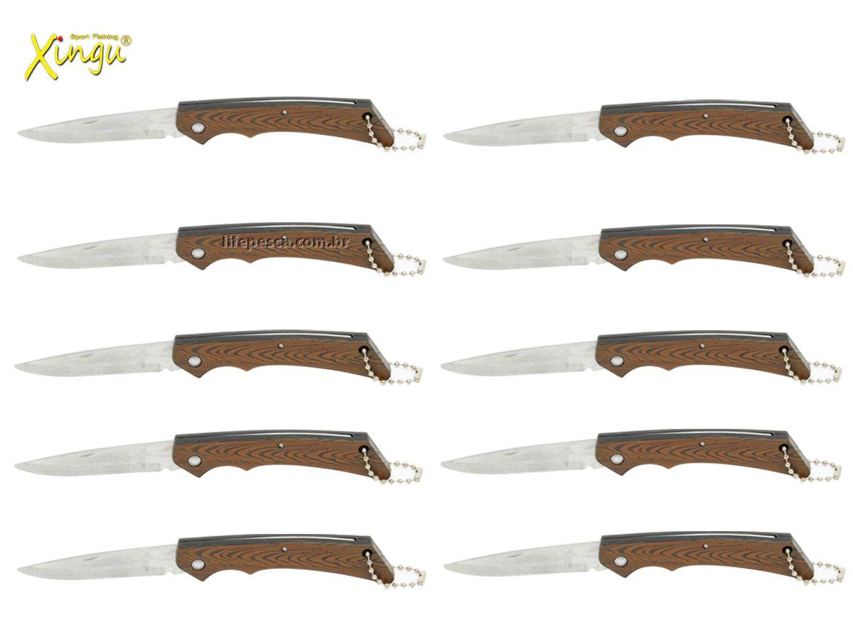Kit 10 Canivetes Xingu XV2846 - Cabo Amadeirado