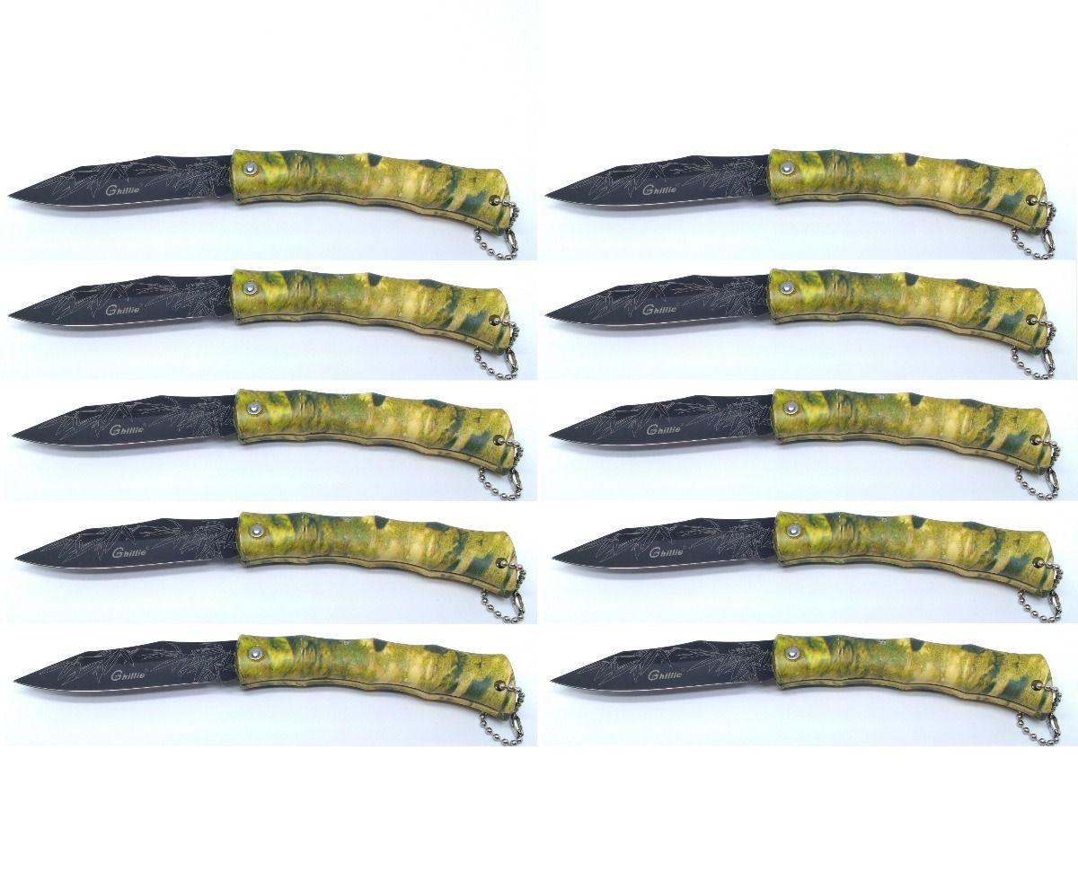 Kit 10 Canivetes Xingu XV3137 Cabo Camuflado - Desenho na Lâmina
