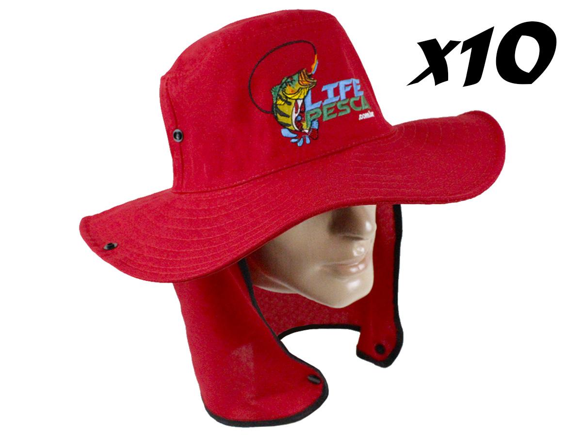 kIT 10 Chapéus Com Protetor De Nuca LIFE PESCA - Várias Cores