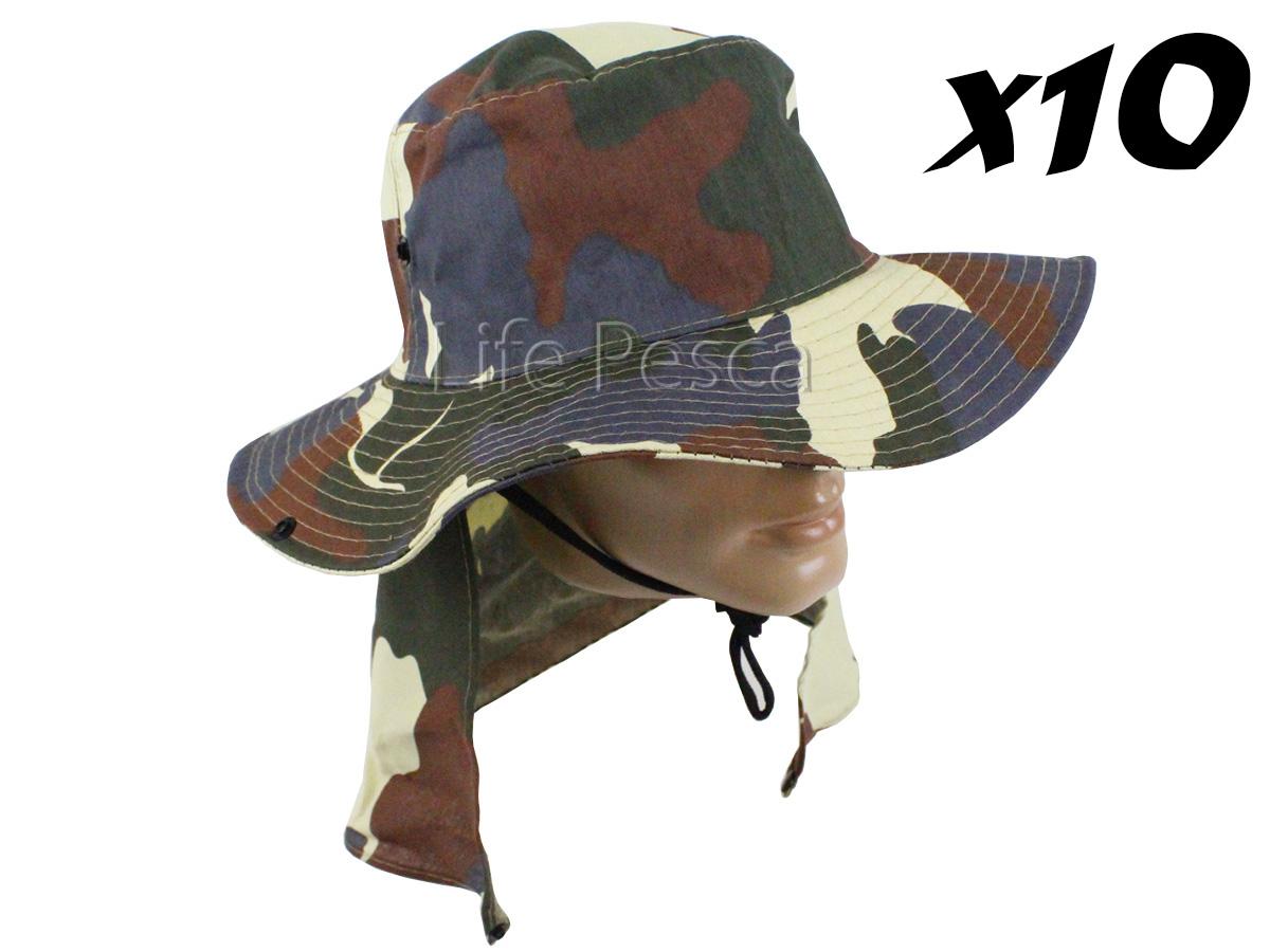 Kit 10 Chapéus Pescador C/ Protetor De Nuca - Várias Cores