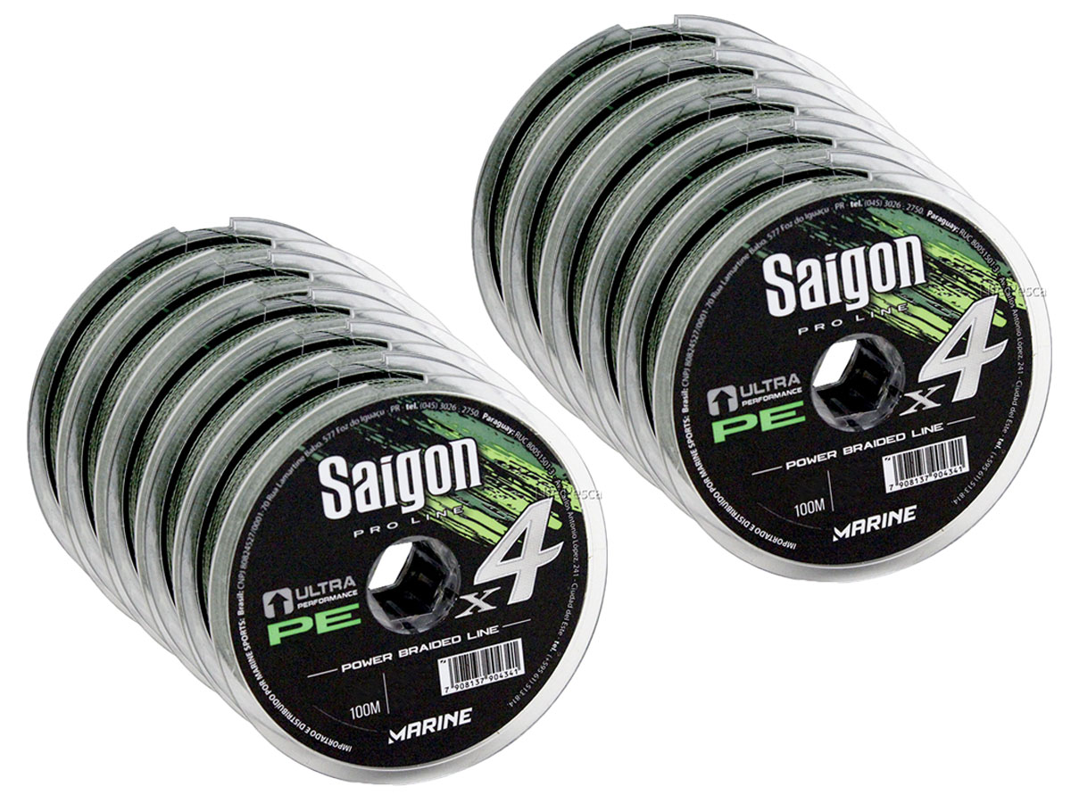 Kit 10 Linha Saigon Multifilamento x4 Verde 0,20mm 25Lbs/11kg - 1000 Metros