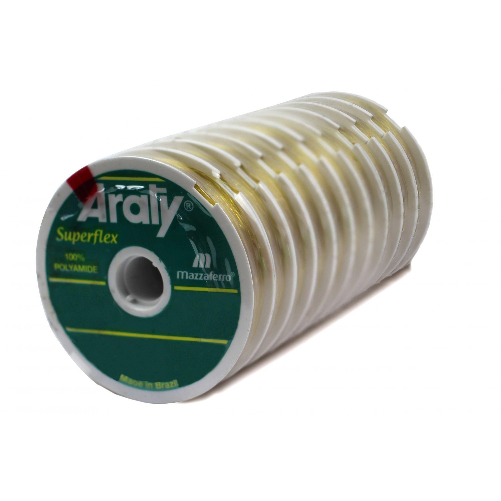 Kit 10 Linhas Monofilamento Araty UV Superflex 0,50mm 15,0kg - (3x 100 Metros)