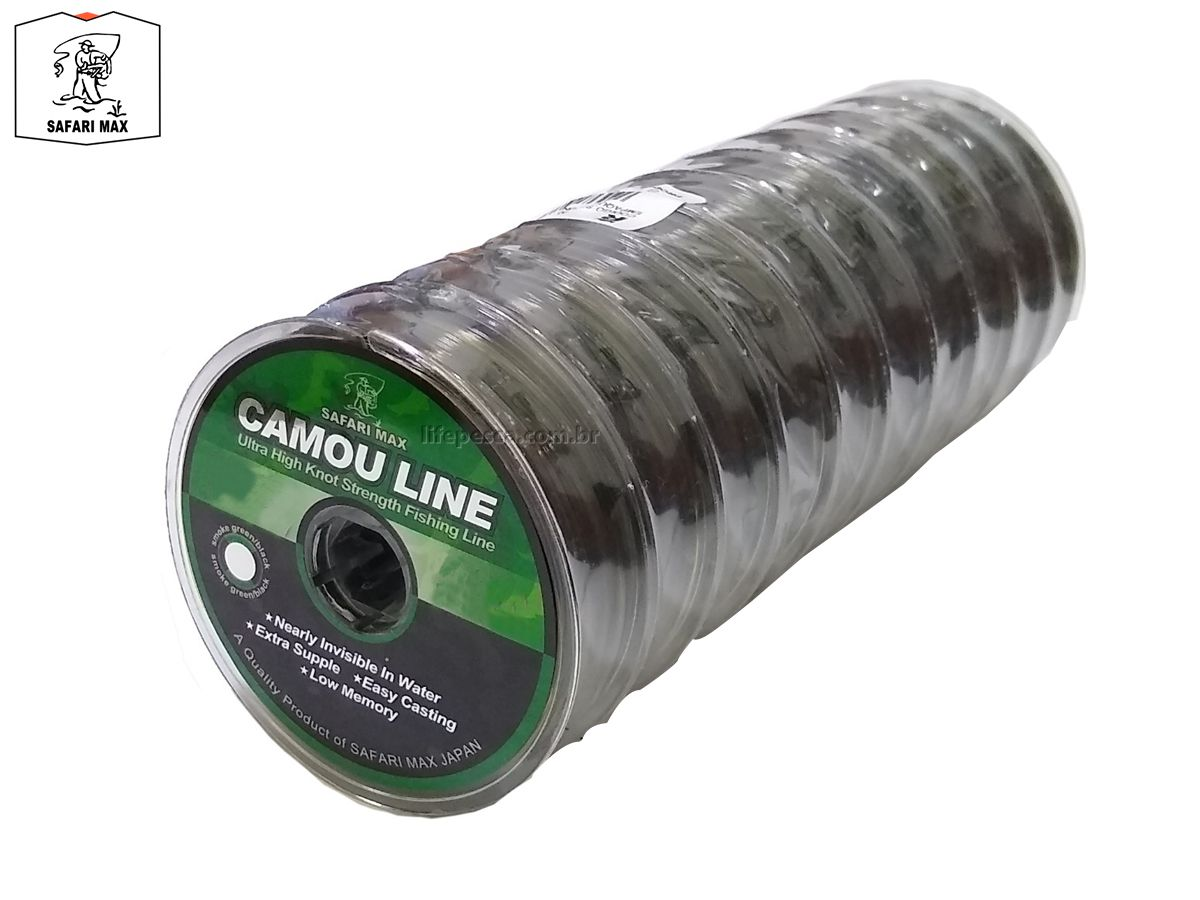 Kit 10 Linhas Monofilamento Camou Line 0,20mm 12,1lbs/5,5kg - (10x 100 Metros)