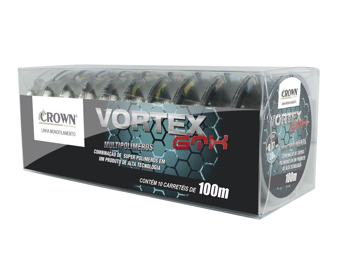 Kit 10 Linhas Monofilamento Crown Vortex GTX 0.33mm 25lb/11,30Kg -10x 100 Metros