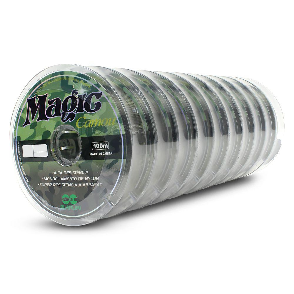 Kit 10 Linhas Monofilamento Magic Camou 0,15mm 3,9lbs/1,8kg (10x100 Metros)