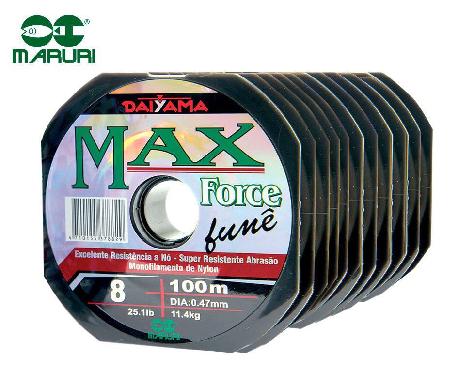 Kit 10 Linhas Monofilamento Maruri Max Force Fumê 0,47mm 25,1lbs/11,4kg - (10x 100 Metros)