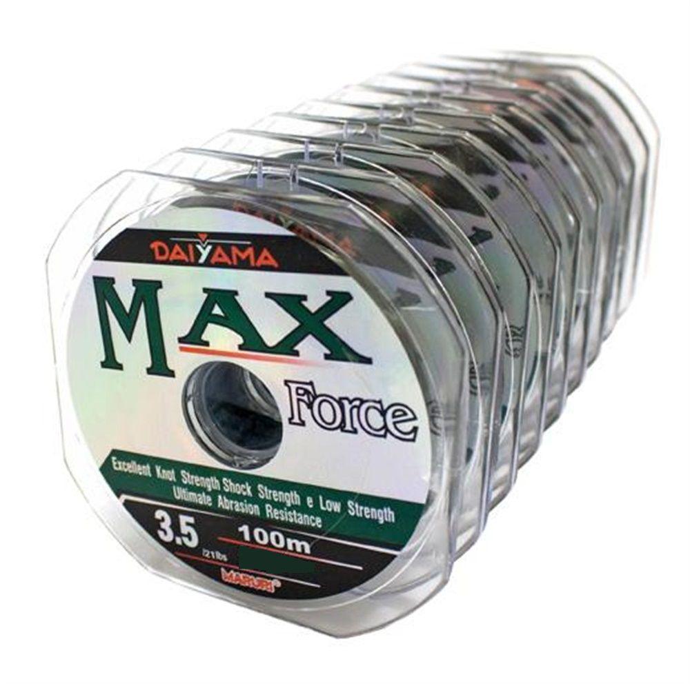 Kit 10 Linhas Monofilamento Maruri Max Force Verde 0,47mm 48lbs/21,8kg - (10x 100 Metros)