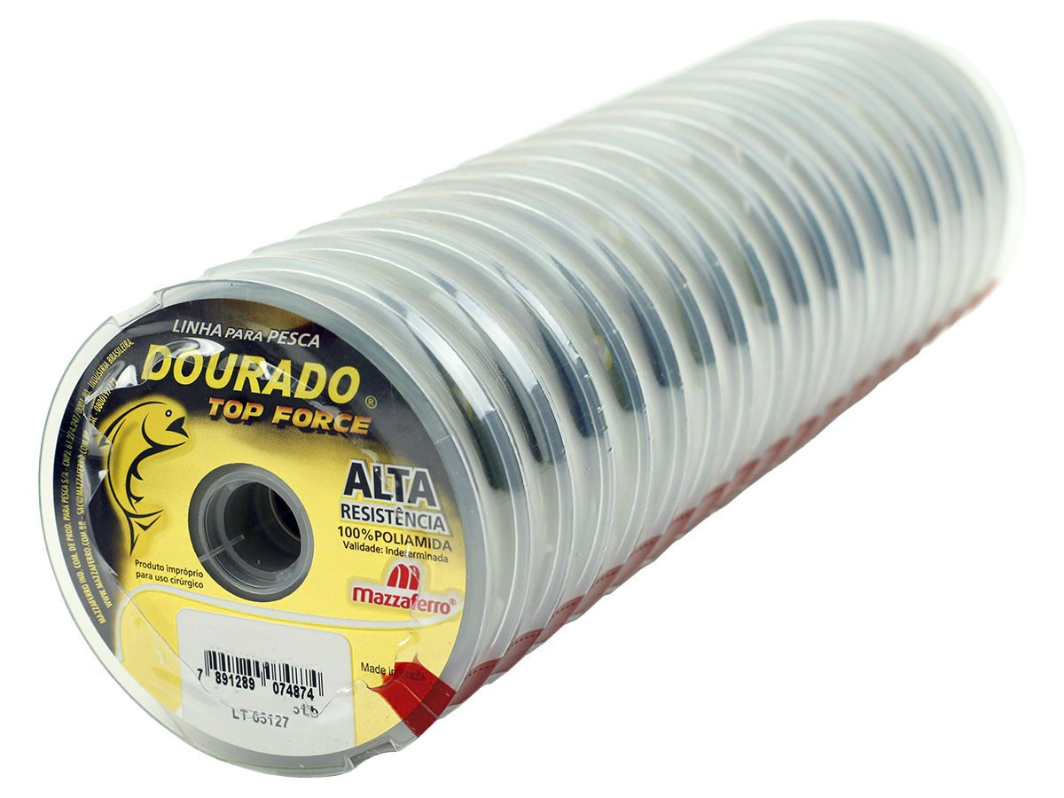 Kit 10 Linhas Monofilamento Mazzaferro Dourado Top Force 0,80mm 81.6lb/37.0kg (10x100 Metros)