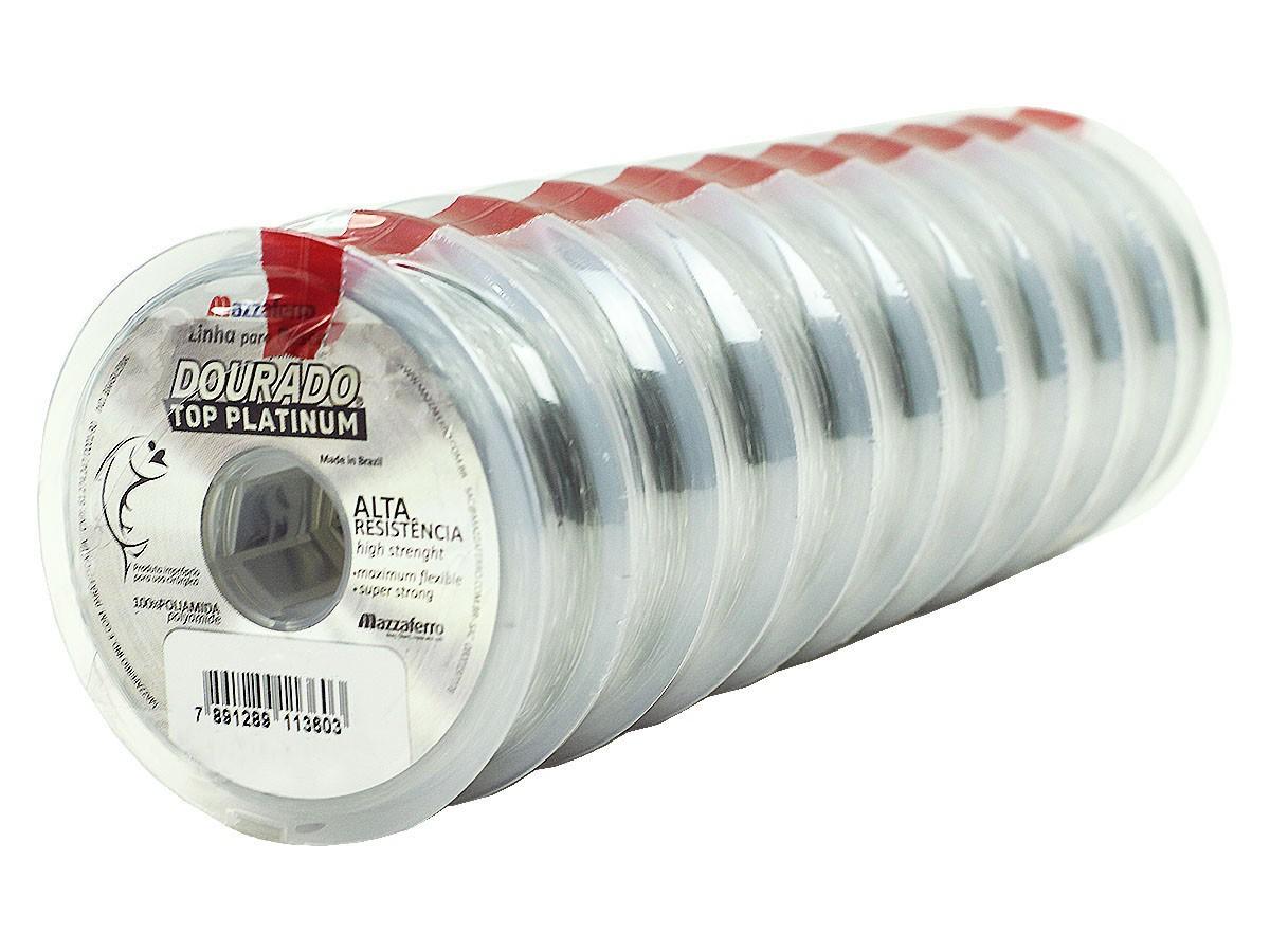 Kit 10 Linhas Monofilamento Mazzaferro Dourado Top Platinum 0,25mm 10,6lb/4,8kg (10x100 Metros)