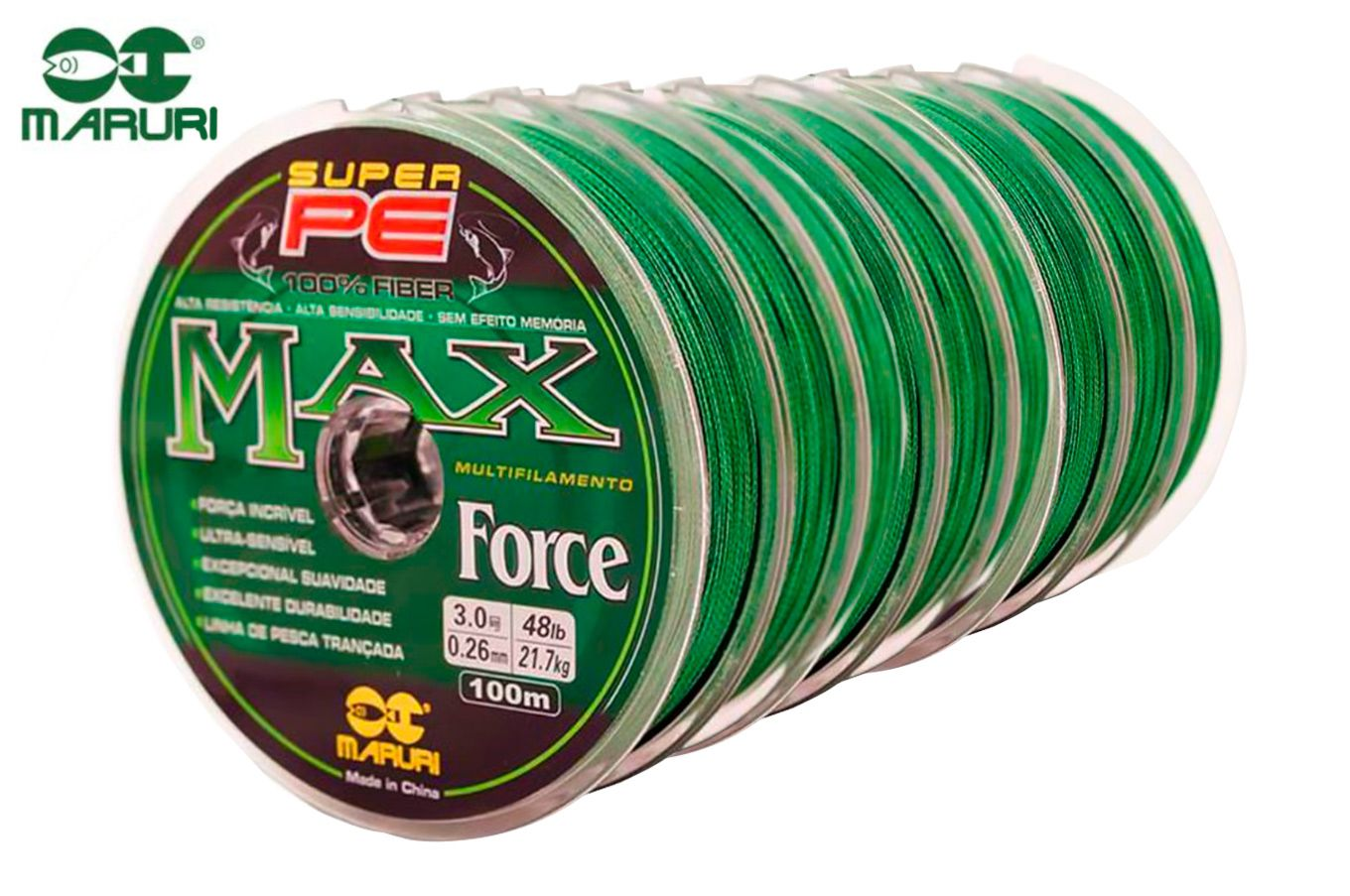 Kit 10 Linhas Multifilamento Maruri PE Max Force 0,60mm 70lbs/31,8kg - (10x 100 Metros)