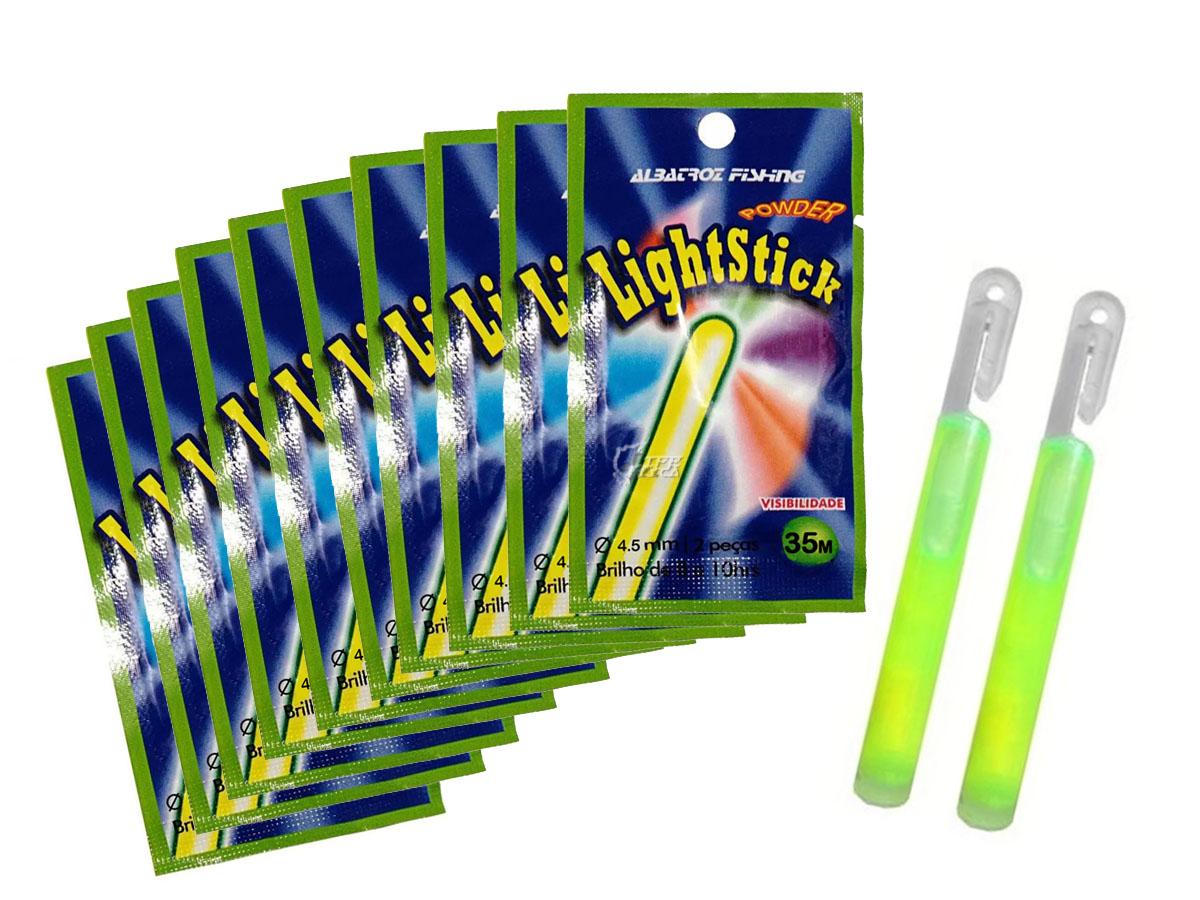 Kit 10 Luz Química Albatroz Fishing - 4.5 x 38mm Cartela C/ 2 Unidades (20 Peças)