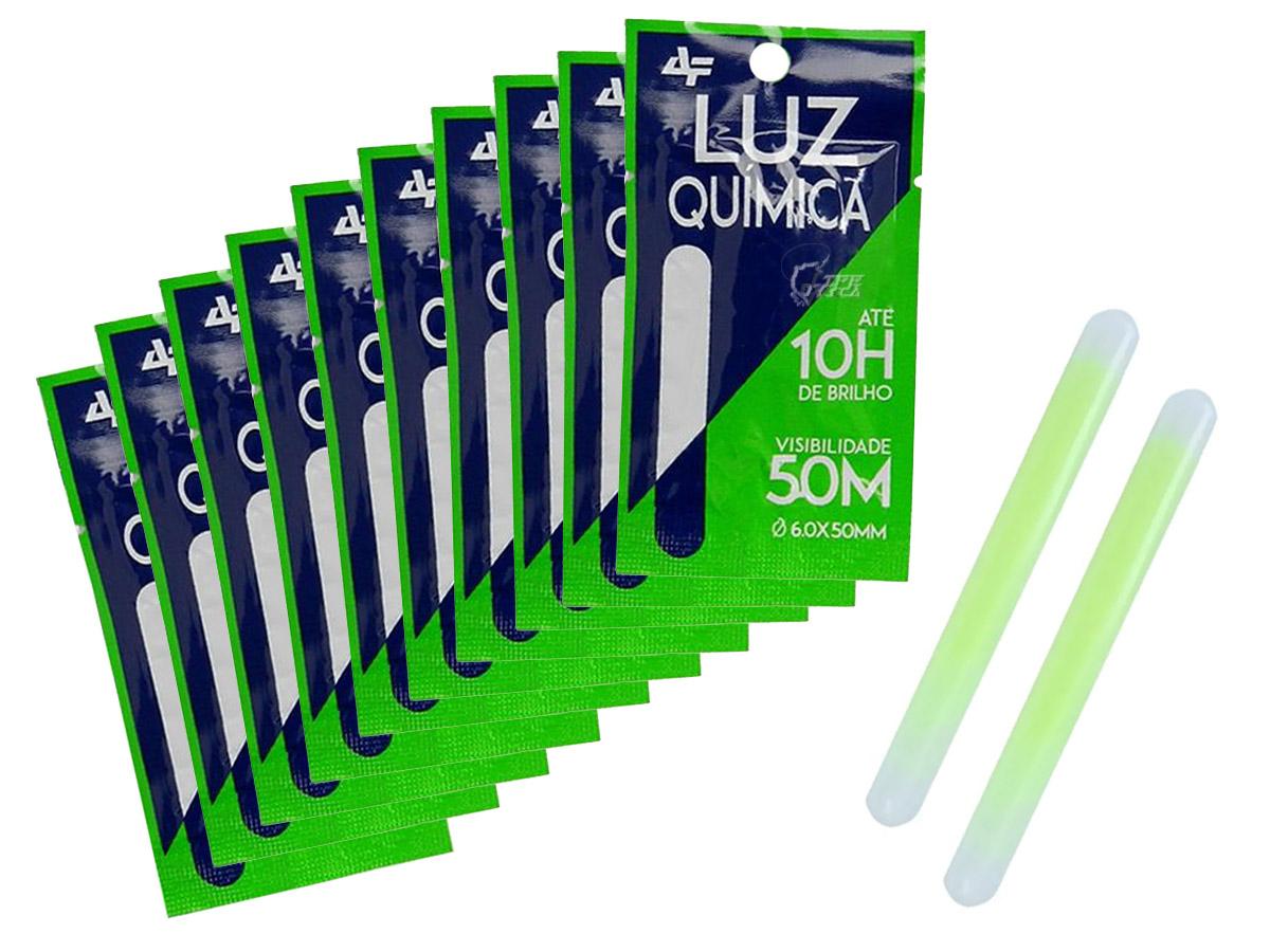 Kit 10 Luz Química Albatroz Fishing - 6.0 x 50mm Cartela C/ 2 Unidades (20 Peças)