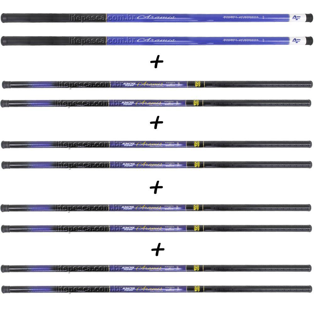 Kit 10 Varas Telescópicas Albatroz Fishing Aramis 5 Medidas Diferentes - 22% Carbono