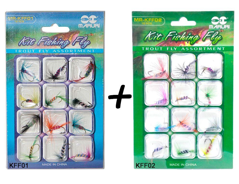 Kit 24 Iscas Maruri Fly - KFF01 + KFF02