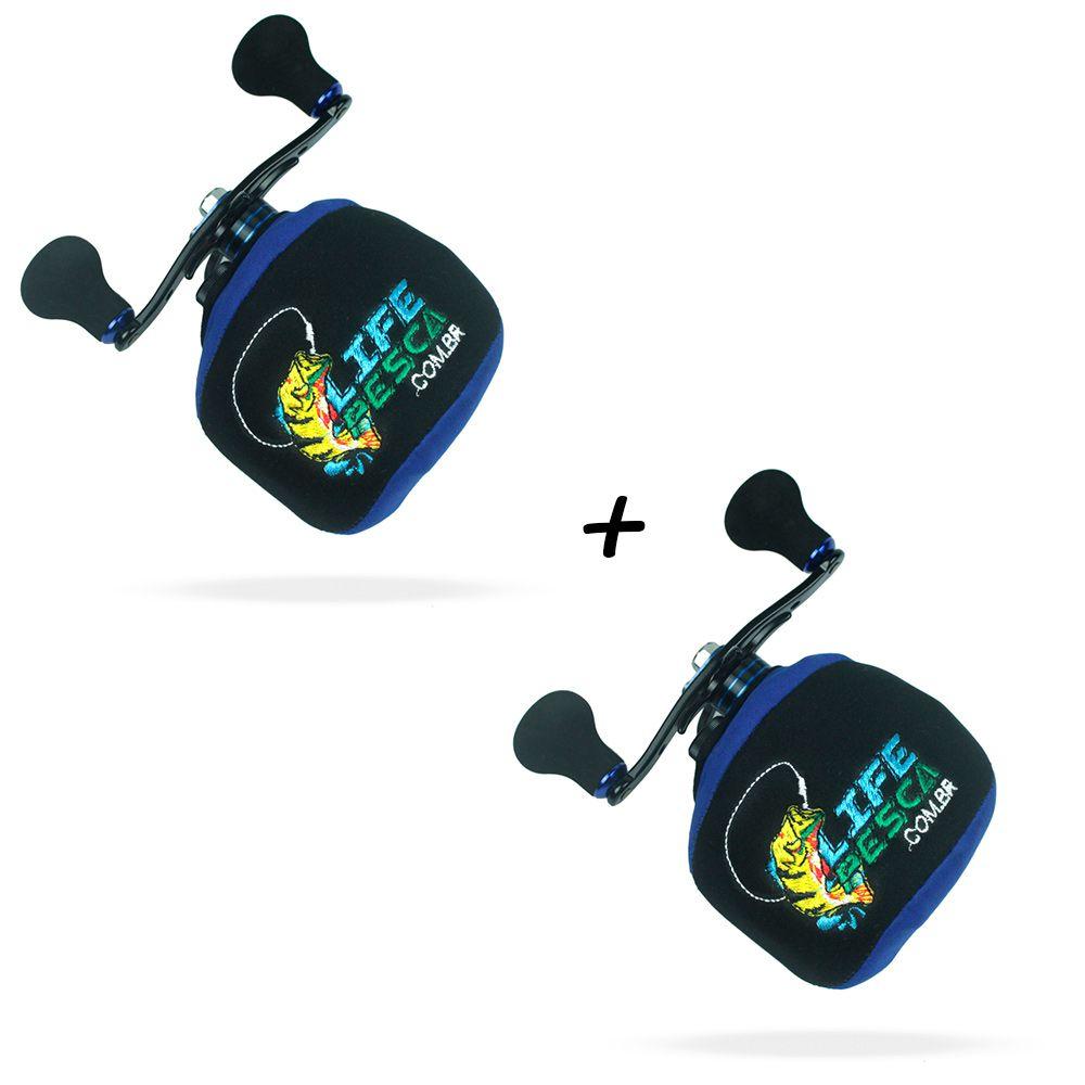 Kit 2 Capas Protetora P/ Carretilha Perfil Baixo em Neoprene Azul - Life Pesca