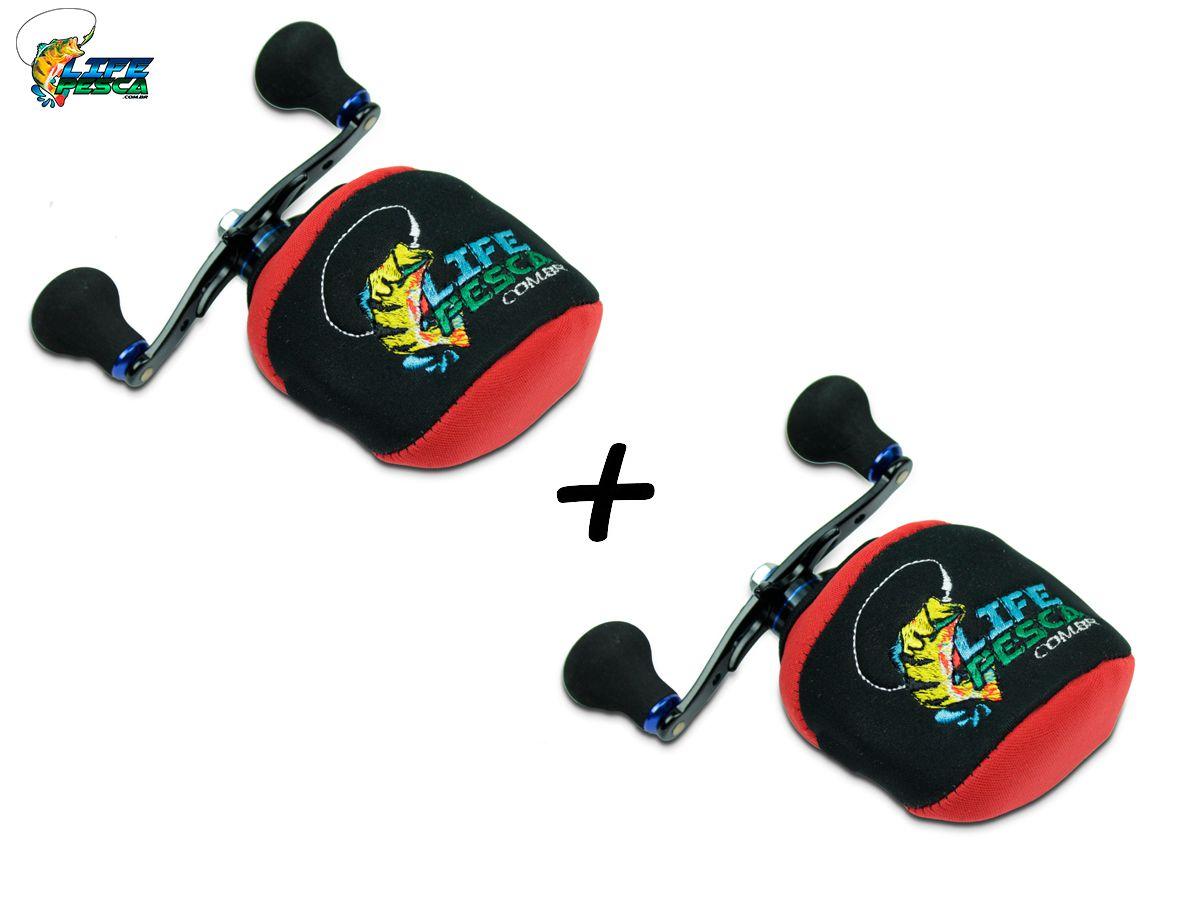 Kit 2 Capas Protetora P/ Carretilha Perfil Baixo em Neoprene Vermelha - Life Pesca