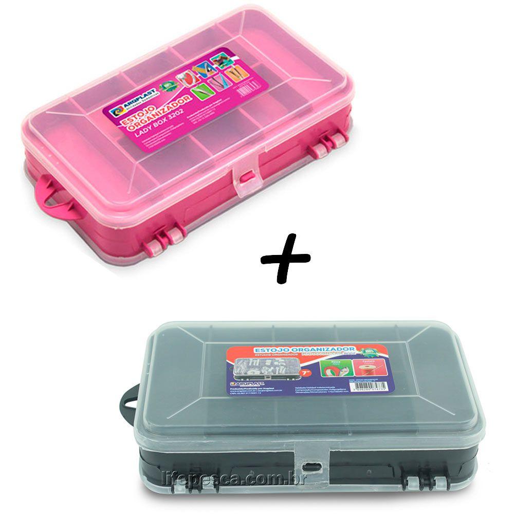 Kit 2 Estojos Para Pesca Estojo Lady Box 3202 + Estojo Mini Double Case 8002 - Arqplast