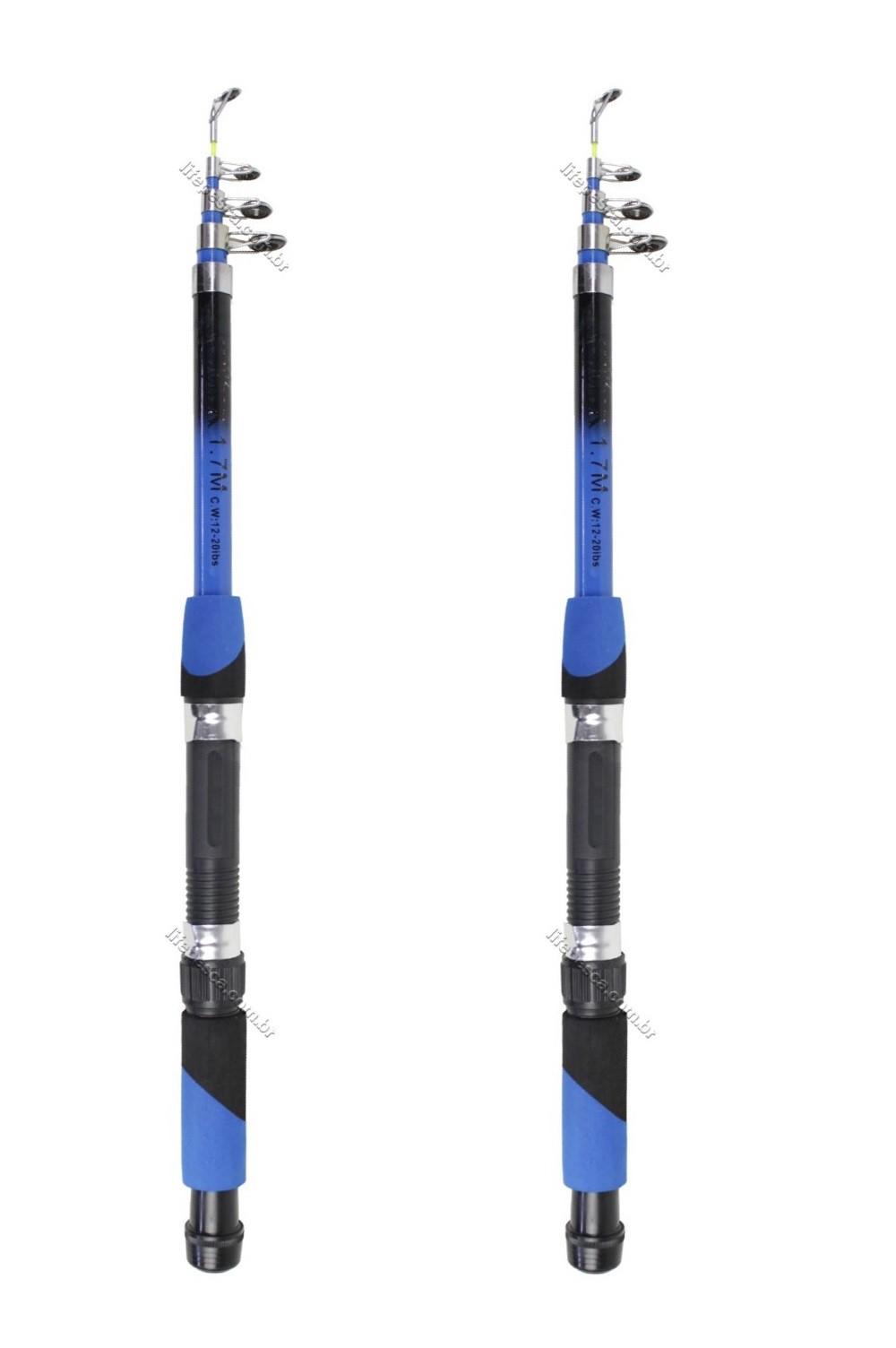 Kit 2 Varas Para Molinete Telescópica Com Passador C.W (1,60m) 12-20lbs - Varias Cores
