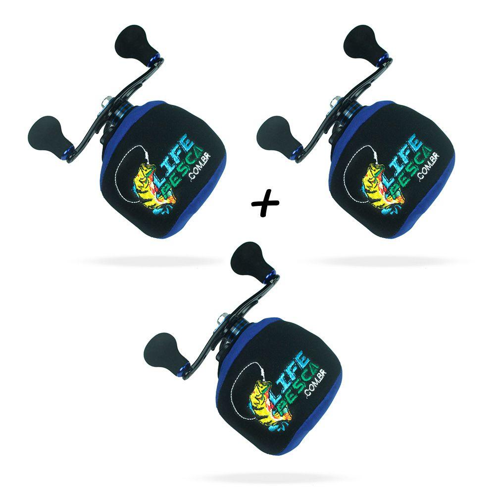 Kit 3 Capas Protetora P/ Carretilha Perfil Baixo em Neoprene Azul - Life Pesca