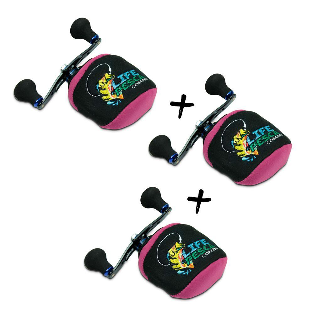 Kit 3 Capas Protetora P/ Carretilha Perfil Baixo em Neoprene Rosa - Life Pesca