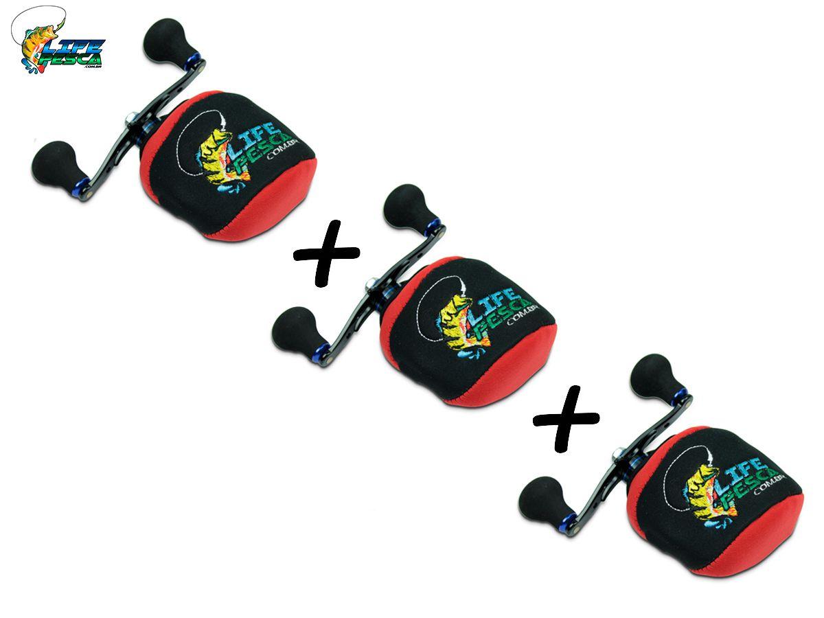 Kit 3 Capas Protetora P/ Carretilha Perfil Baixo em Neoprene Vermelha - Life Pesca