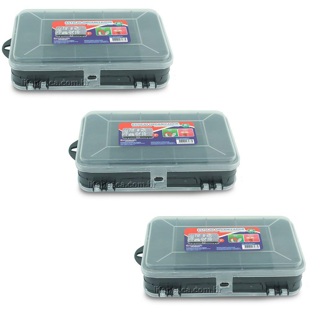 Kit 3 Estojos Organizador Para Pesca Mini Double Case 8002 - Arqplast