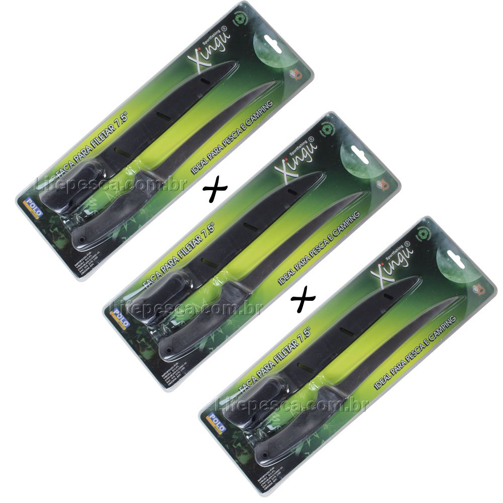 Kit 3 Facas de Filetar Peixes Xingu XV2339 33cm