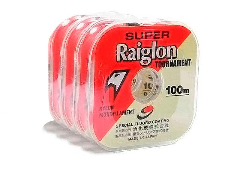 Kit 3 Linhas Monofilamento Super Raiglon 0,370mm 30lbs/13,82kg - (3x 100 Metros)