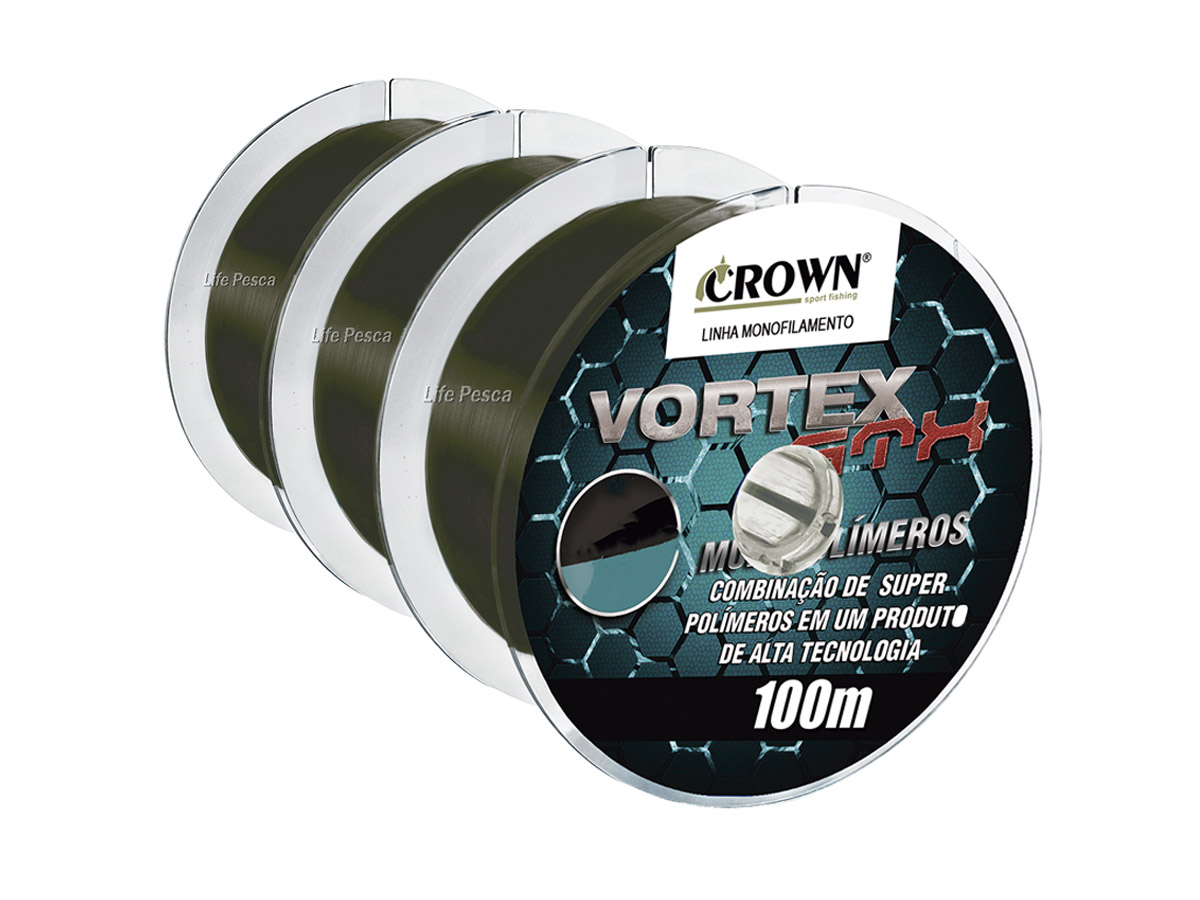 Kit 3 Linhas Monofilamento Crown Vortex GTX 0.33mm 25lb/11,30Kg - 3x 100 Metros