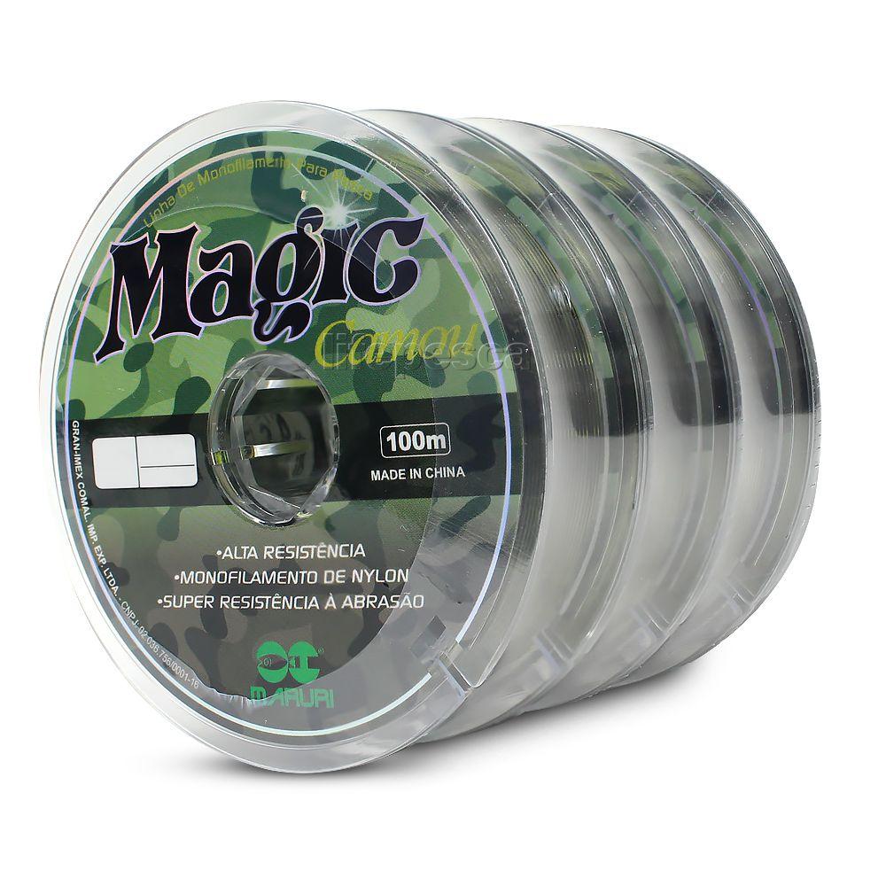Kit 3 Linhas Monofilamento Magic Camou 0,60mm 52,2lbs/23,7kg (3x100 Metros)