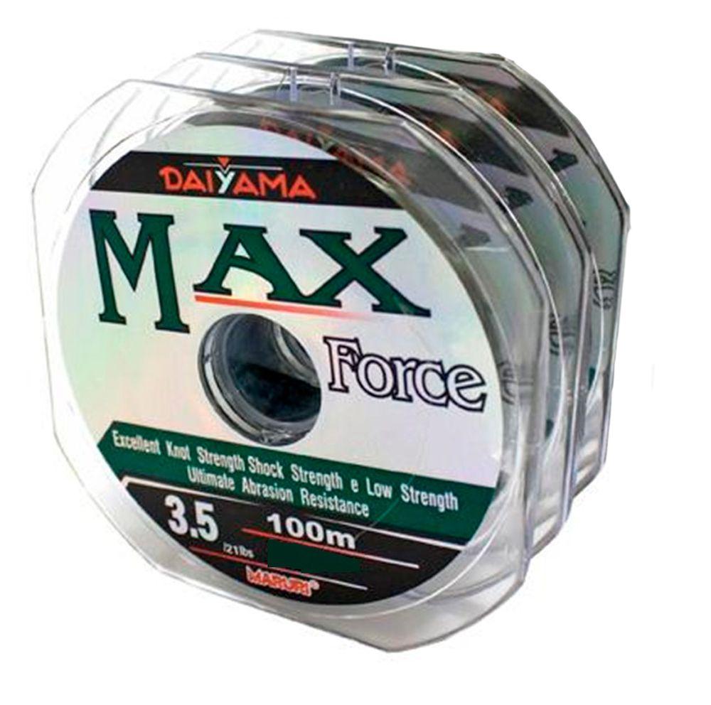 Kit 3 Linhas Monofilamento Maruri Max Force Verde 0,66mm 99lbs/44,7kg - (3x 100 Metros)