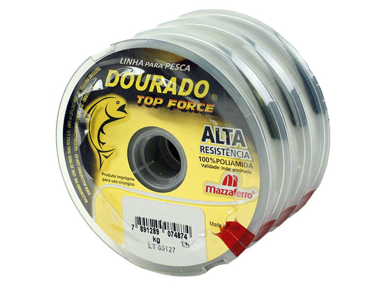 Kit 3 Linhas Monofilamento Mazzaferro Dourado Top Force 0,80mm 81.6lb/37.0kg (3x100 Metros)