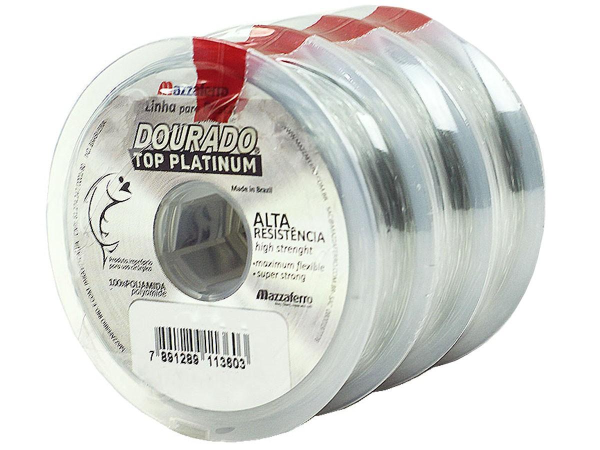 Kit 3 Linhas Monofilamento Mazzaferro Dourado Top Platinum 0,80mm 71,4lb/38kg (3x100 Metros)