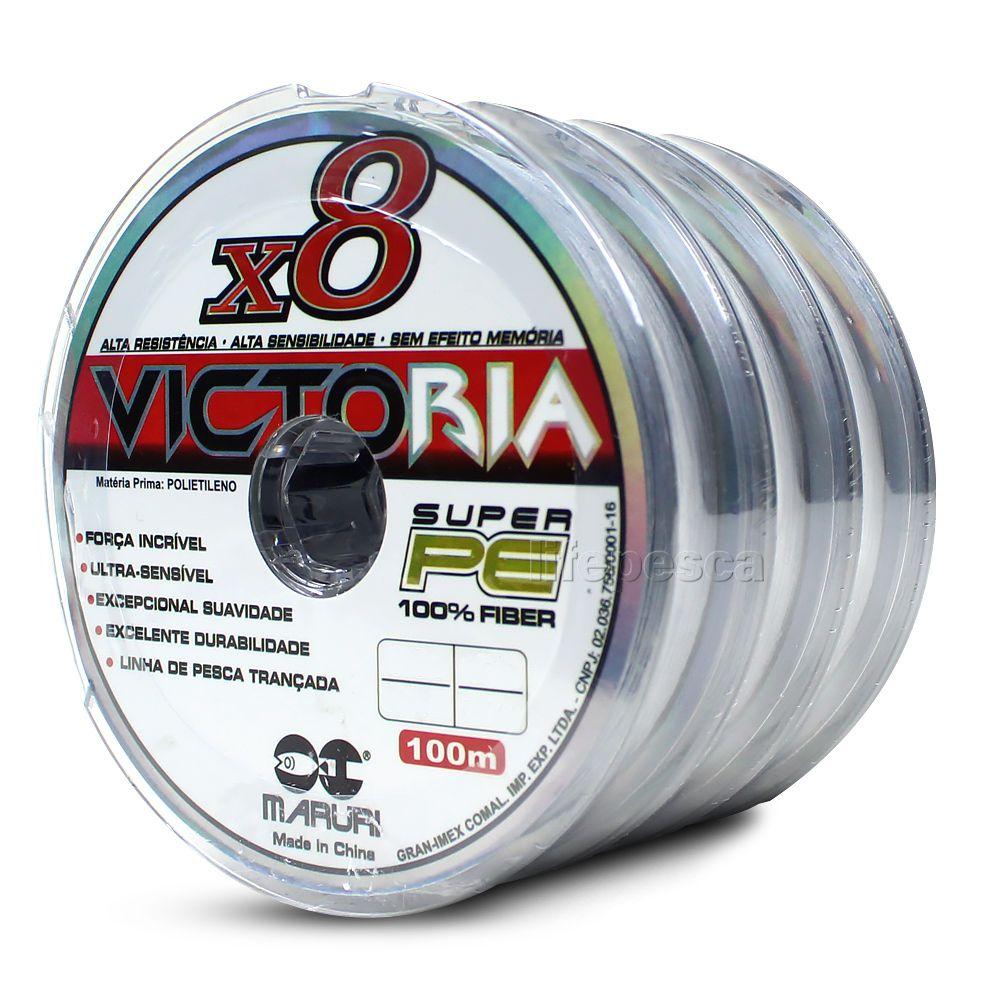Kit 3 Linhas Multifilamento Maruri Victoria 8X 0,20mm 24lbs/10,9kg (3x 100 Metros)