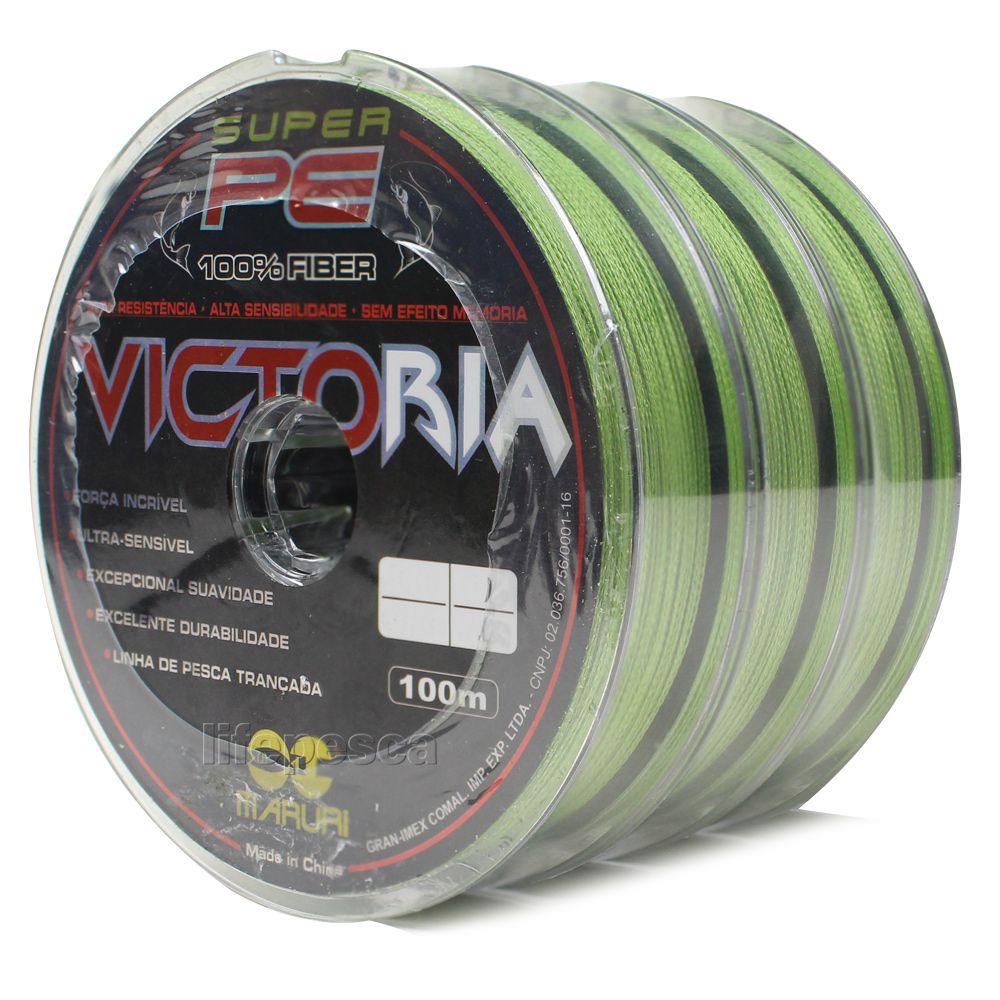Kit 3 Linhas Multifilamento Maruri Victoria 0,34mm 48lbs/21,8kg (3x 100 Metros)