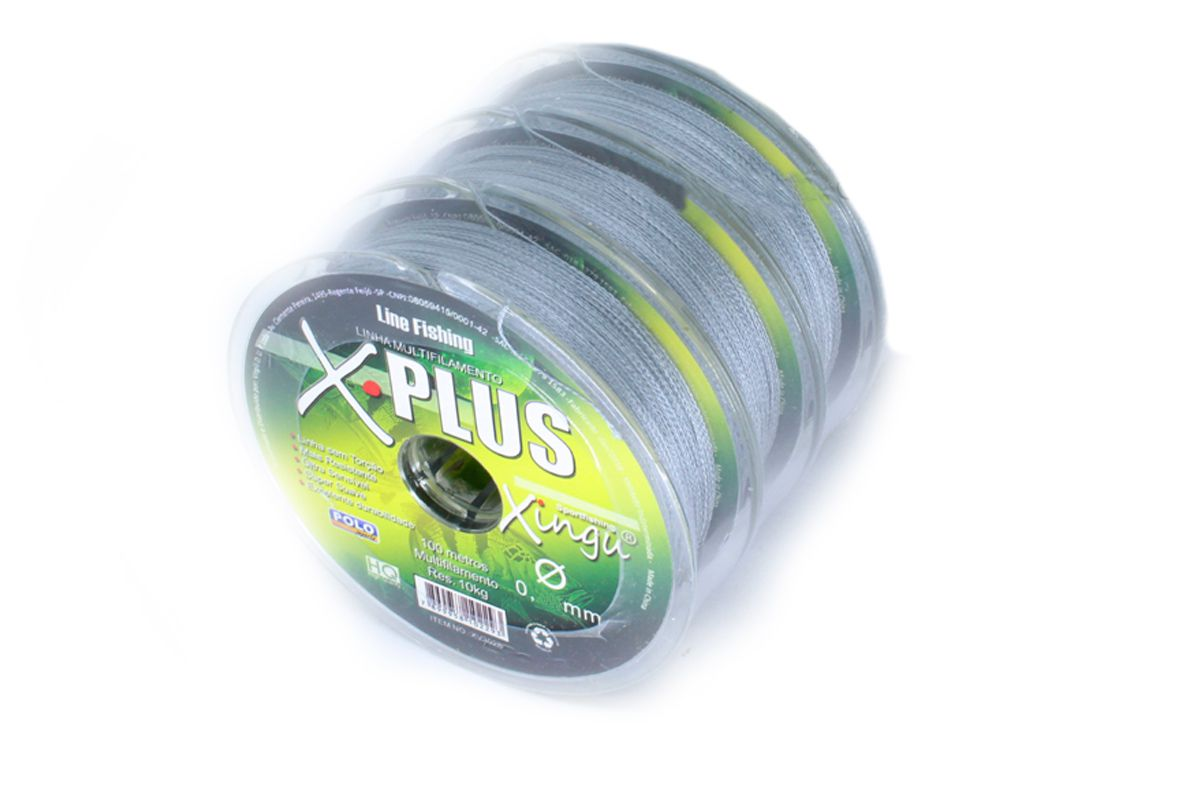 Kit 3 Linhas Multifilamento Xingu 0,35mm 55lb / 25kg - (3x 100 Metros)