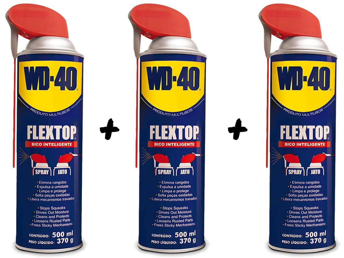 Kit 3 Lubrificantes WD-40 Spray Multiuso - 3 x 500ml
