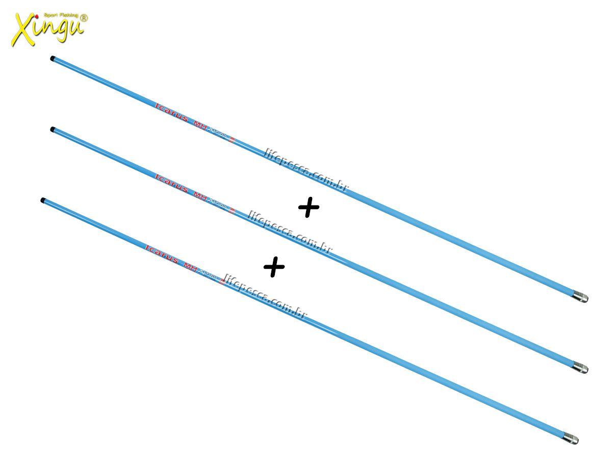 Kit 3 Varas Telescópica Xingu Icarus Carbono - 2,70 Metros