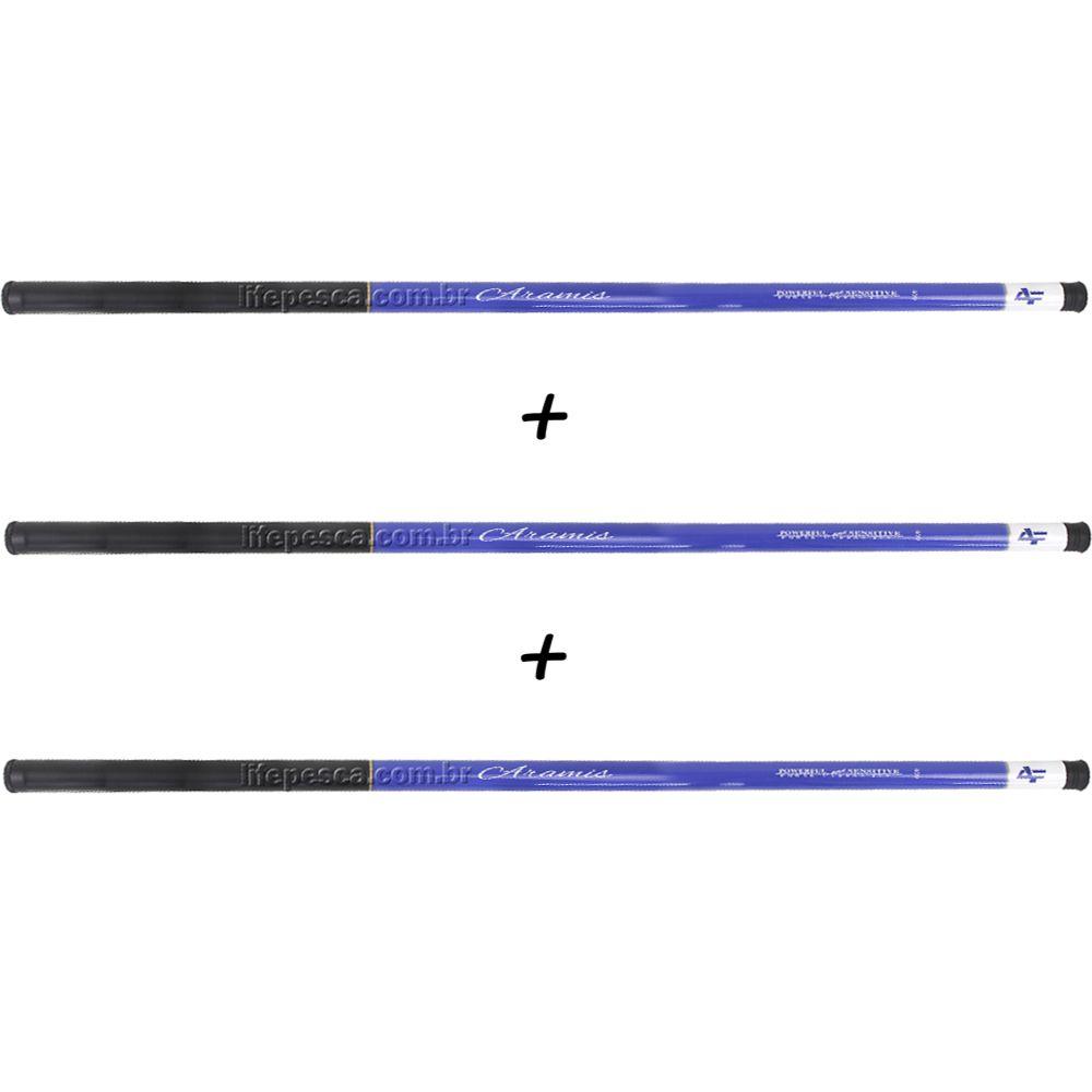 Kit 3 Varas Telescópicas Albatroz Fishing Aramis 2,10 Metros - 22% Carbono