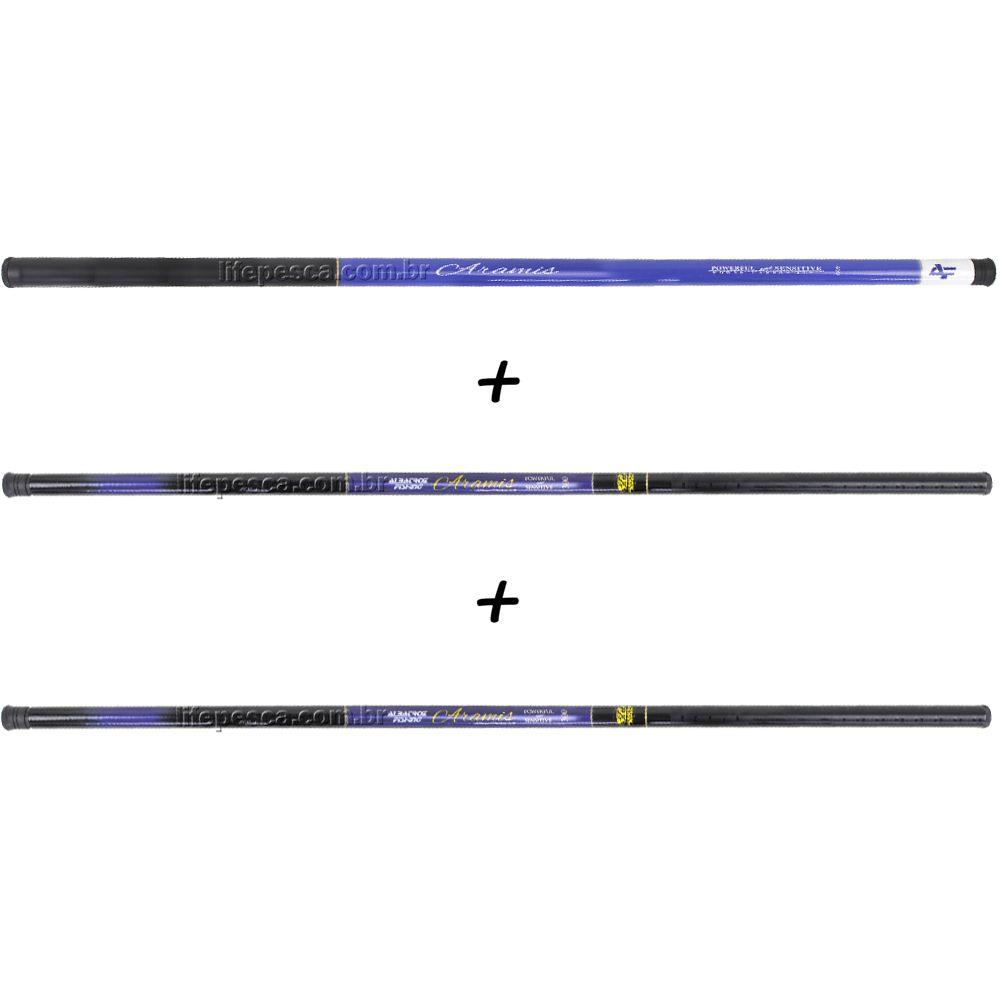 Kit 3 Varas Telescópicas Albatroz Fishing Aramis 3,00 Metros - 22% Carbono