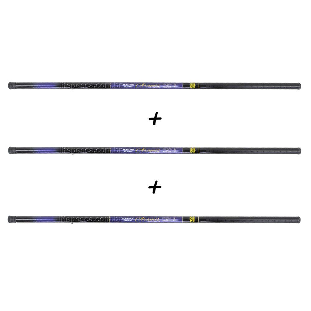 Kit 3 Varas Telescópicas Albatroz Fishing Aramis 3,60 Metros - 22% Carbono