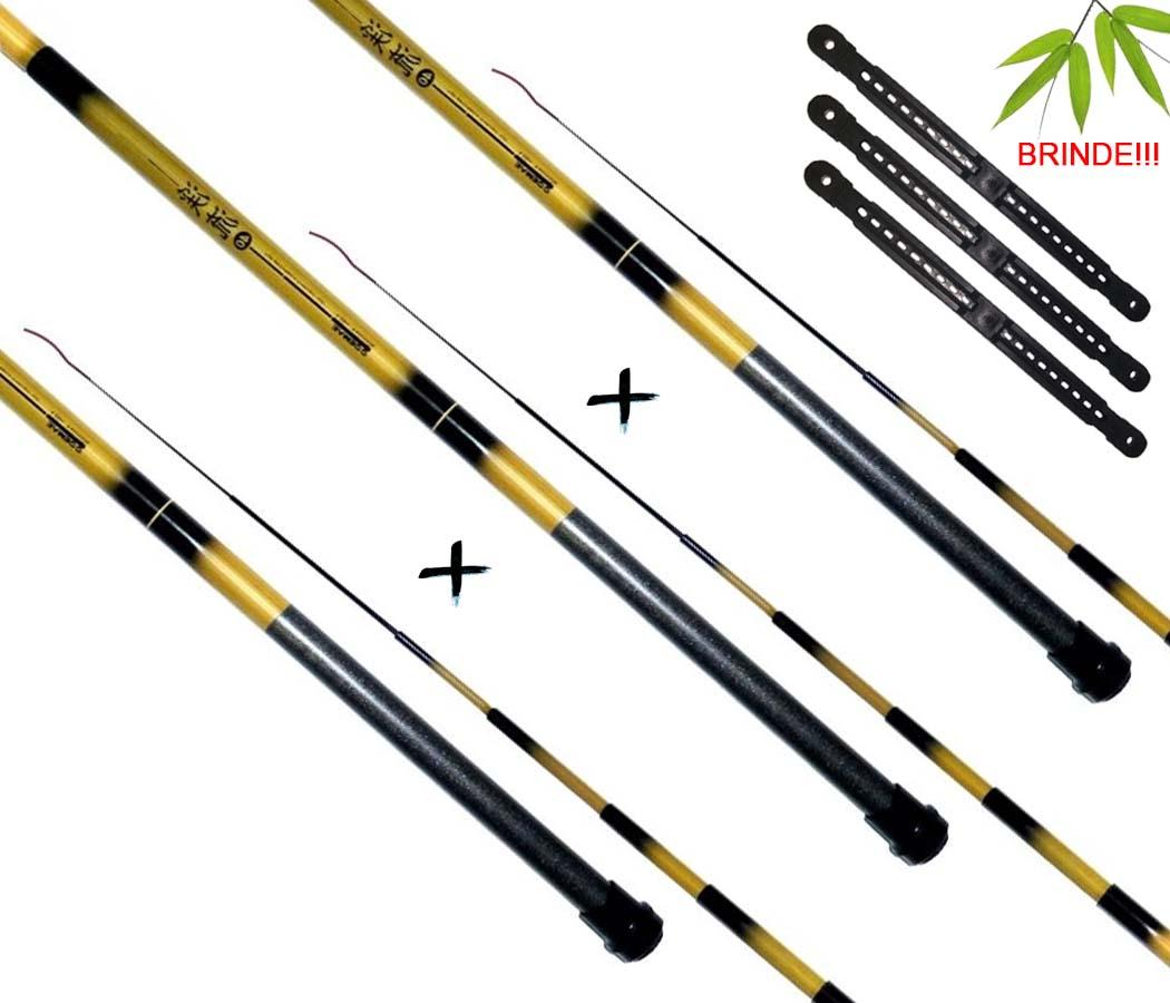 Kit 3 Varas Telescópicas Marine Sports Bamboo (2,10m)
