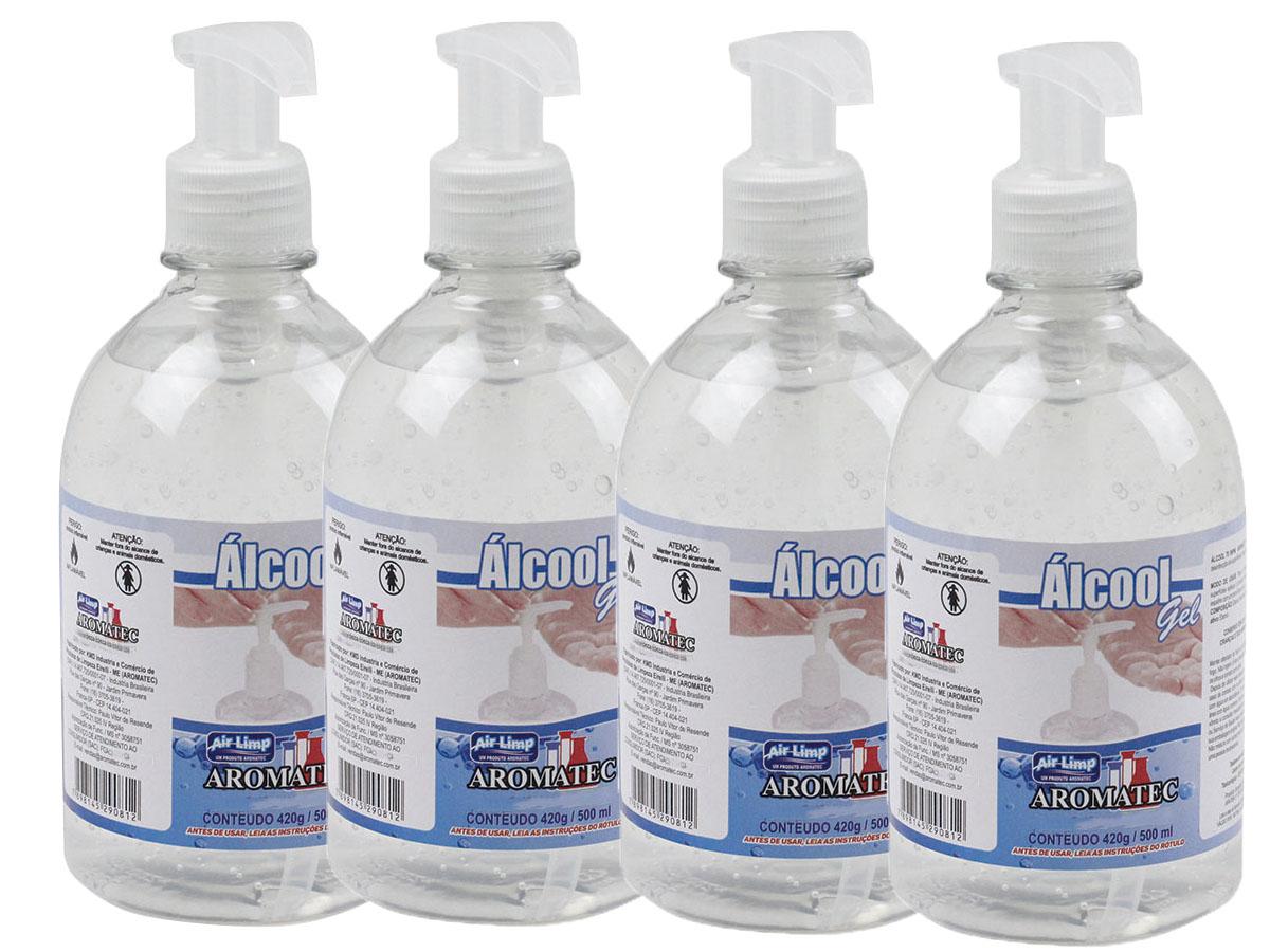Kit 4 Álcool Gel Higienizador 70° % Antisséptico Bactericida 420gr