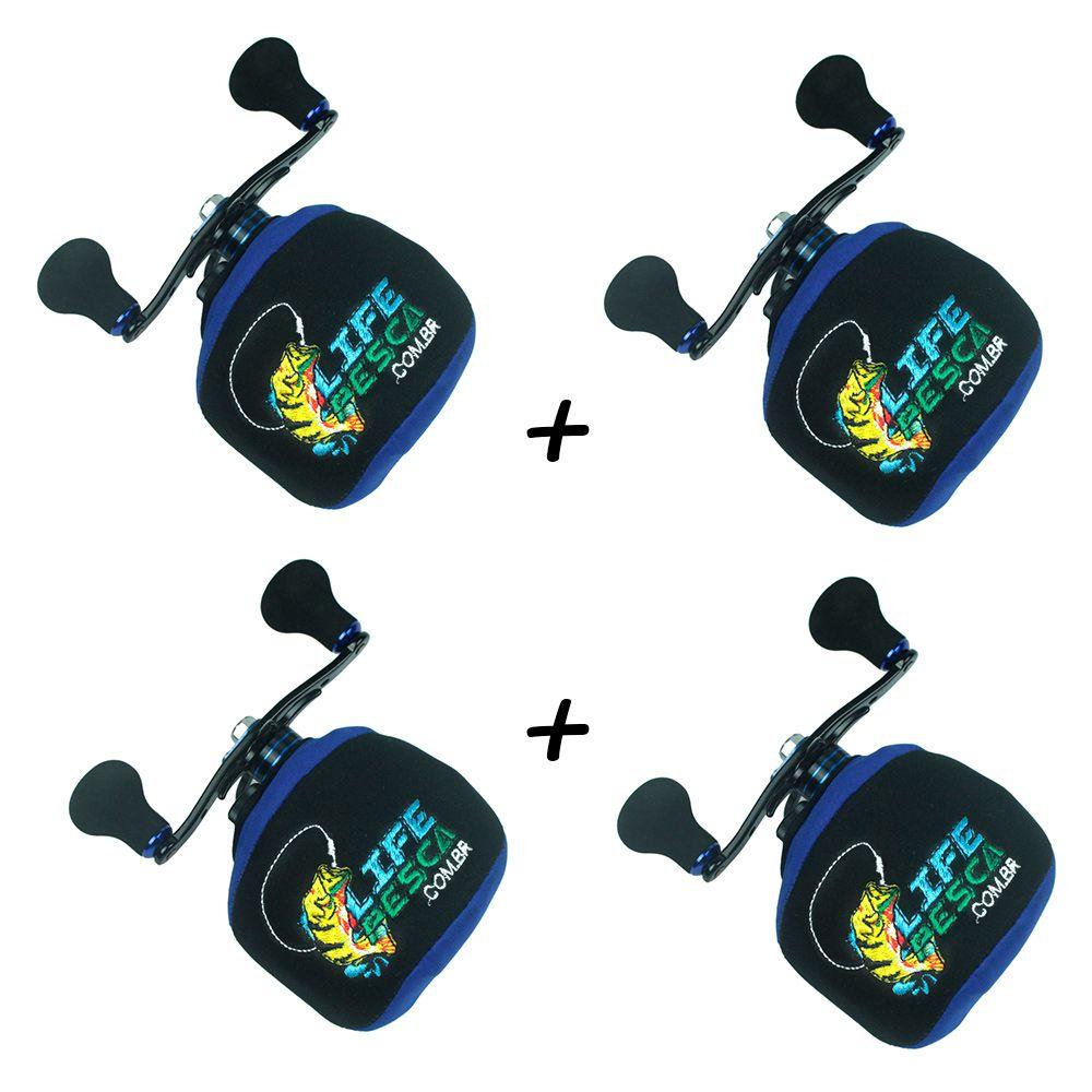 Kit 4 Capas Protetora P/ Carretilha Perfil Baixo em Neoprene Azul - Life Pesca