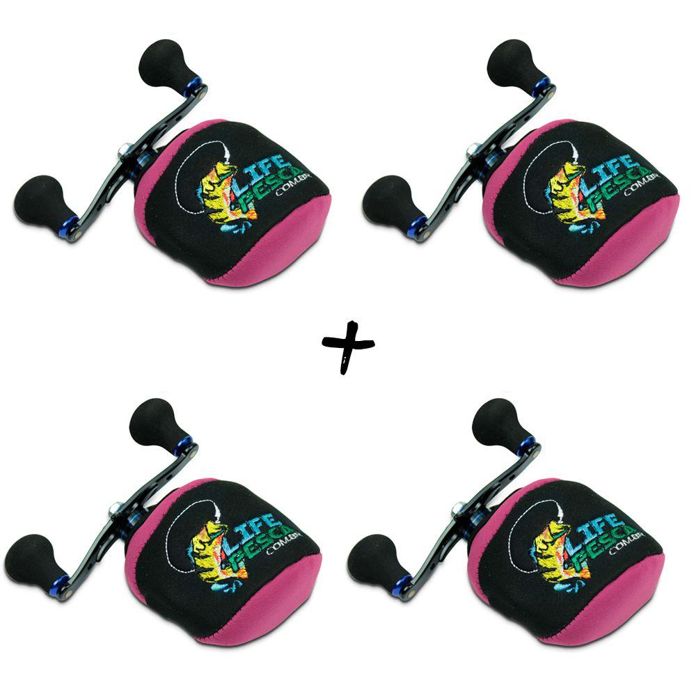 Kit 4 Capas Protetora P/ Carretilha Perfil Baixo em Neoprene Rosa - Life Pesca