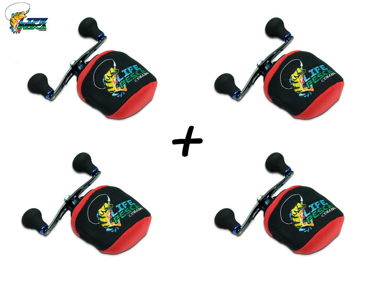 Kit 4 Capas Protetora P/ Carretilha Perfil Baixo em Neoprene Vermelha - Life Pesca