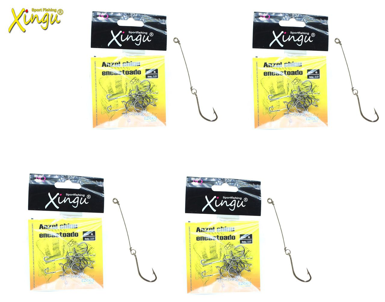 Kit 4 Cartelas Anzol Encastoado Xingu Chinu N° 6 ao 9 - 40 Peças