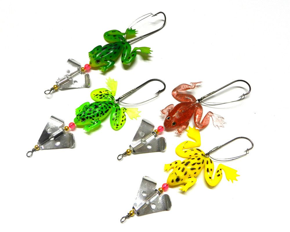 Kit 4 Iscas Artificiais Sapos Mini Buzzbait Anti-enrosco