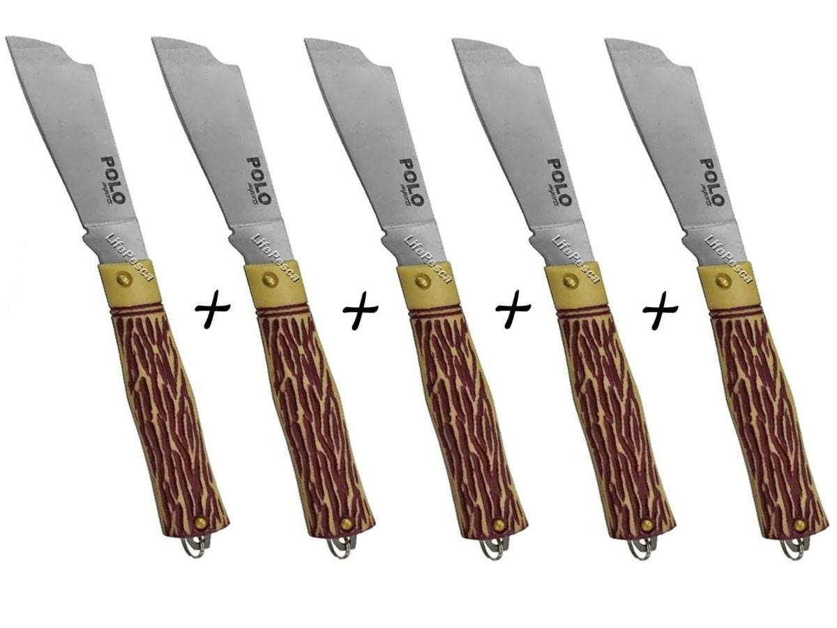 Kit 5 Canivetes De Metal Xingu XV3153 19cm - Cabo Osso C/ Bainha