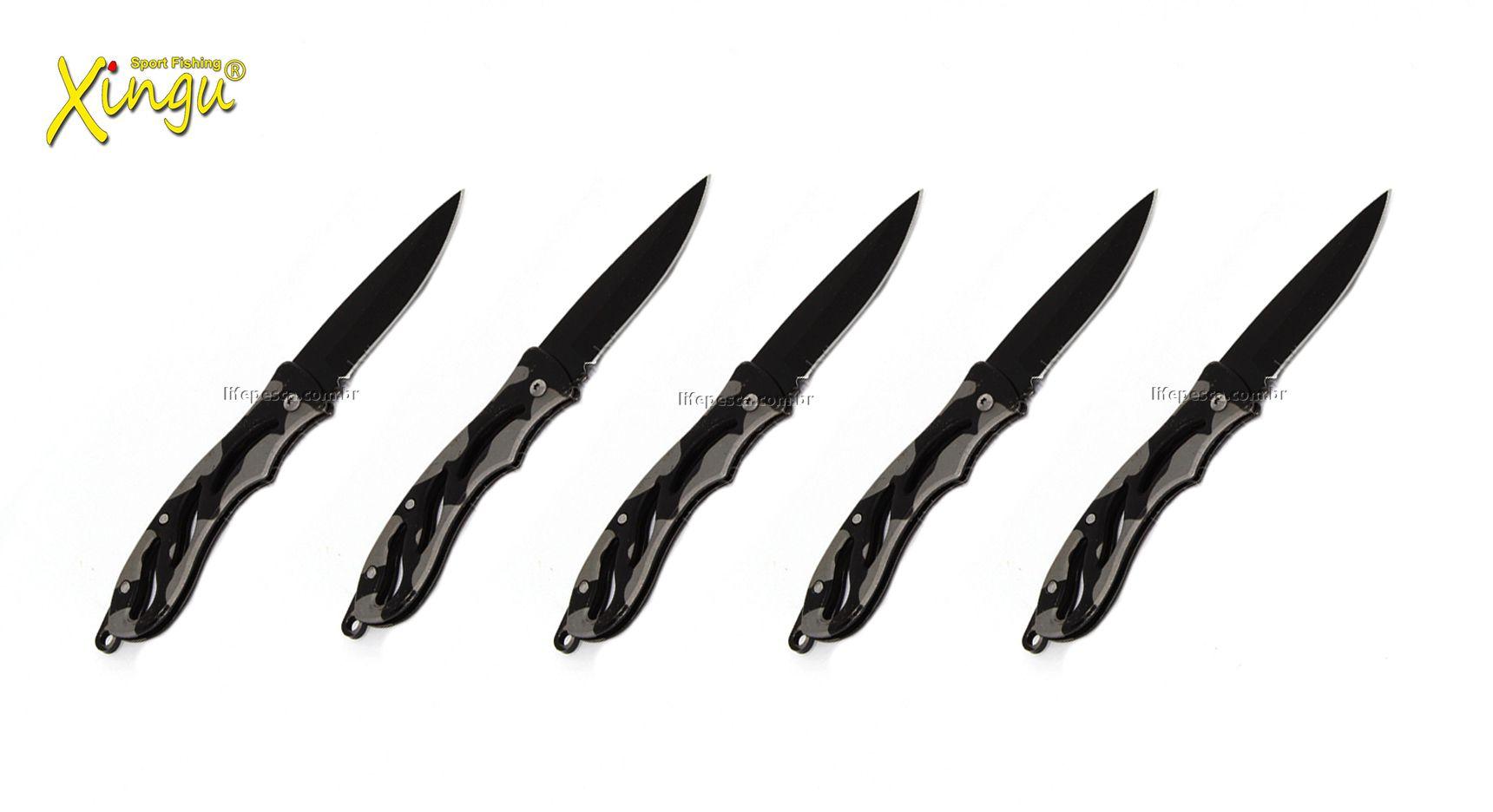 Kit 5 Canivetes Xingu Xv2929 - Cabo Metal Camuflado Cinza